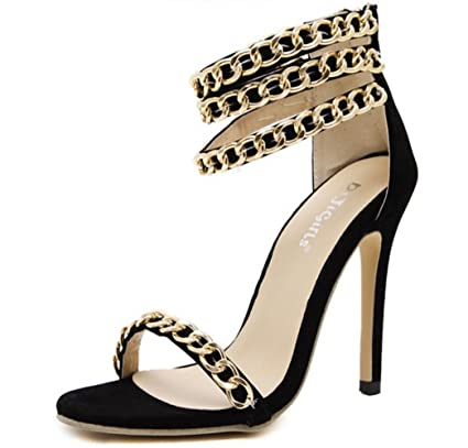 56c7229d0e62b Amazon.com: LINYI Ankle Strap Stiletto Heels Sandals Womens Summer ...
