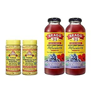 Bragg Nutritional Yeast Seasoning 4.5 Oz Pack of 2 and Bragg Organic Concord Hibiscus Vinegar Drink 16 Oz Pack of 2 Bundle
