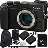Panasonic Lumix DMC-GX8 Mirrorless Micro Four Thirds Digital Camera (Body Only, Black) - International Version (No Warranty) 64GB Bundle 8PC Accessory Kit. Includes 64GB Memory Card + 2 Replacement BLC-12 Batteries + AC/DC Rapid Home & Travel Charger + Heavy Duty Monopod + MORE