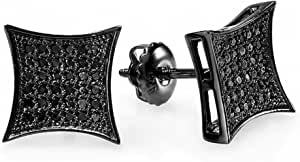 Dazzlingrock Collection Pendientes de tuerca para hombre con diamantes negros de 0,13 quilates