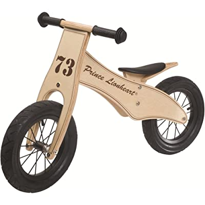 Prince Lionheart 12 inches Wheels Wooden Lightweight No-Pedal Balance Bike for Toddlers with Adjustable Height padded Seat 100% made of Birch Wood 2-5 Years Old Max Weight 65lbs : Childrens Balance Bikes : Baby