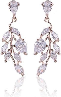 CZ Bridal Earrings for Wedding 14k White Gold Plated Wedding Earrings for Bride Bridesmaids Crystal Cubic Zirconia Rhinestone Cluster Floral Leaf Earrings Elegant Bridal Jewelry for Women Girls
