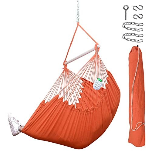 Lazy Daze Hammocks XXL Hanging Rope Hammock Chair Swing Seat with Drink Holder, Carrying Bag and Hanging Hardware, Weight Capacity 300 Lbs, Orange