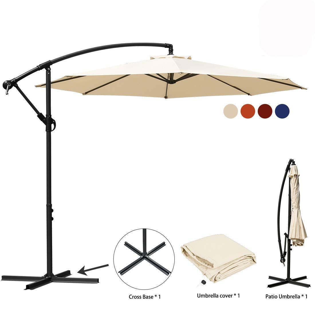 JEAREY Patio Umbrella 10 Ft Offset Cantilever Umbrellas Outdoor Market Hanging Umbrella & Crank with Cross Base, 8 Ribs (Beige1)