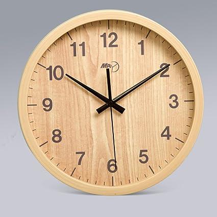 MOMO Reloj de Pared Mudo la Sala de Estar Reloj Retro Dormitorio Redondo Madera Digital Tablas
