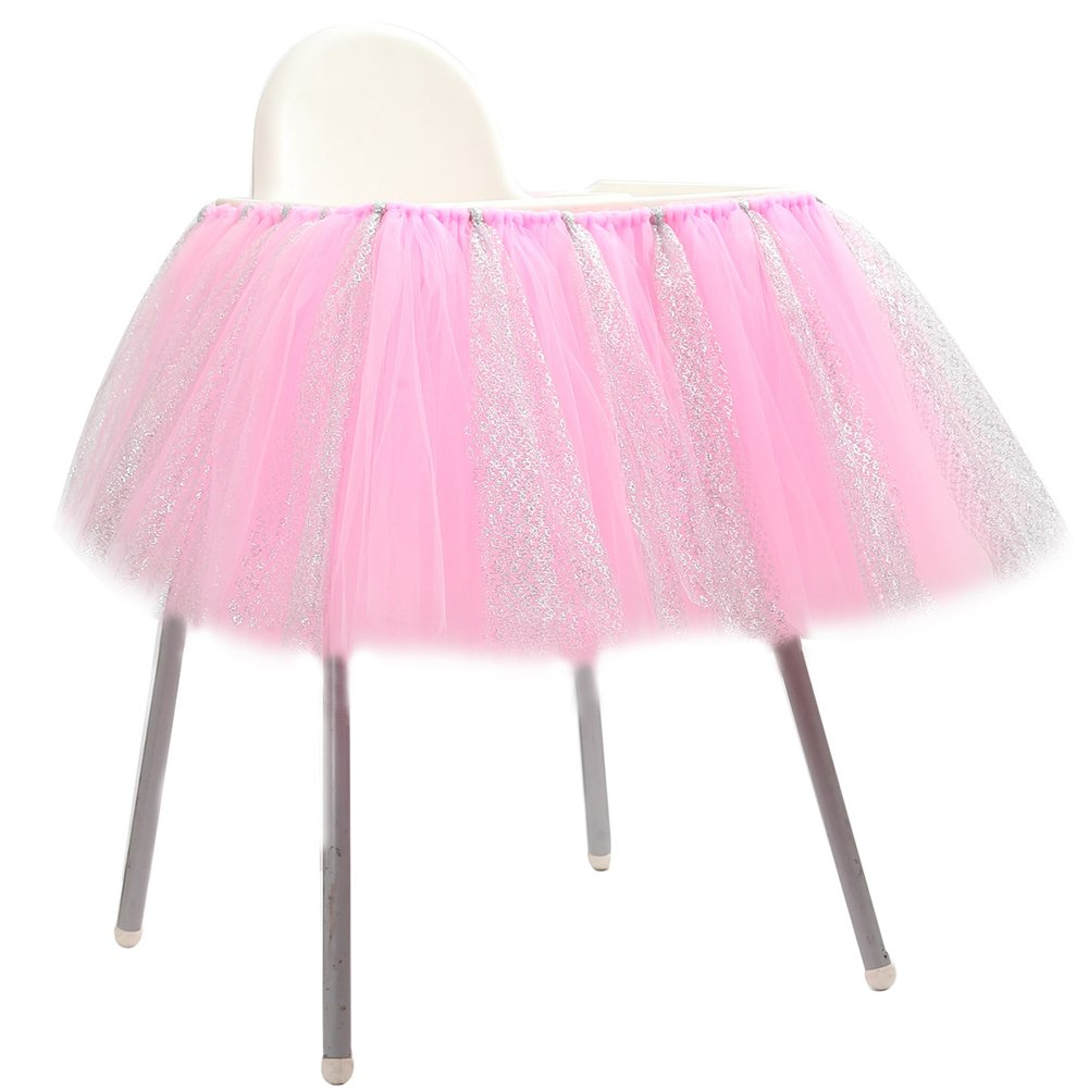 Adeeing High Chair Decoration Favor Baby Shower Party Decoration Tulle Table Skirts Cover Table Cloth for Girl Princess Party, Wedding, Birthday 36x14inches Pink