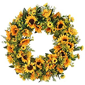 Duovlo 20 Inch Sunflowers Flowers Greenery Wreath Summer Fall Celebrate Handcrafted Door Wreath Wildflowers Decoration 80