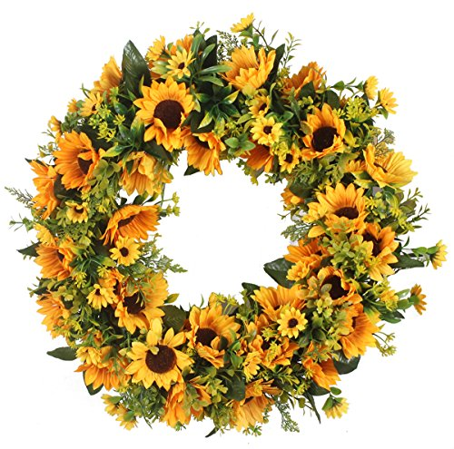 - Duovlo 20 Inch Sunflowers Flowers Greenery Wreath Summer Fall Celebrate Handcrafted Door Wreath Wildflowers Decoration