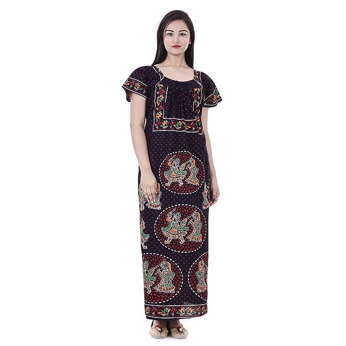 Womens Nighty Nightwear Gown Cotton Maxi Dress Sleepwear Nightgown ... c8b8143e2
