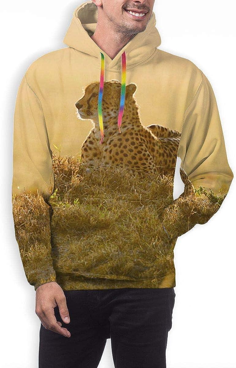 ZQHRS Felpe con Cappuccio Classiche da Uomo Prairie Cheetah con Tasca