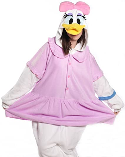 HKSNG Daisy Duck Adults Animal Footed Pajamas Kigurumi Onesies Cosplay Costumes (M(158-168cm))