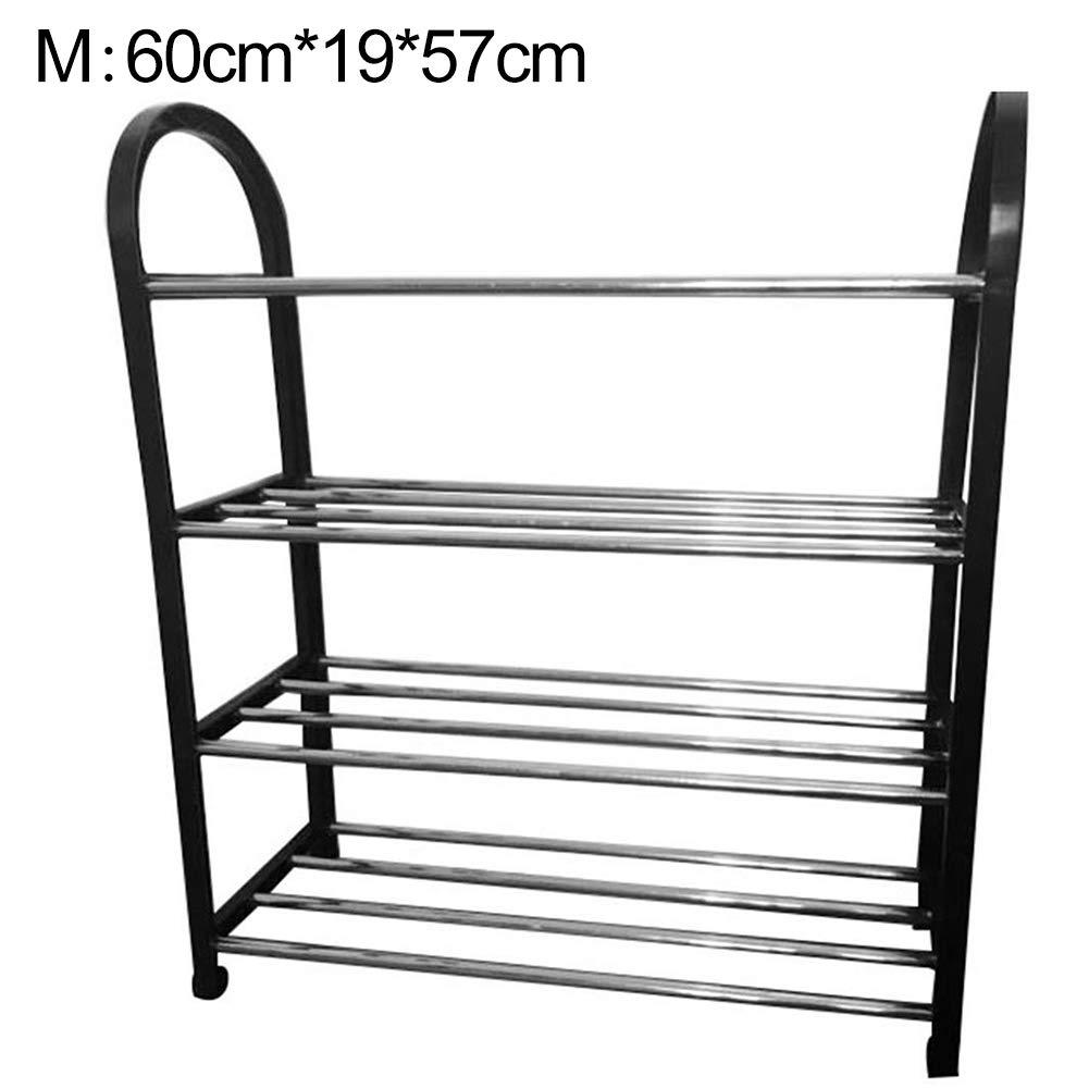 Shoe Rack Space Saving Shoe Tower Cabinet Storage Organizer Black Metal Rack Flat Shelf for Bedroom Entryway Black Small 3 Layer