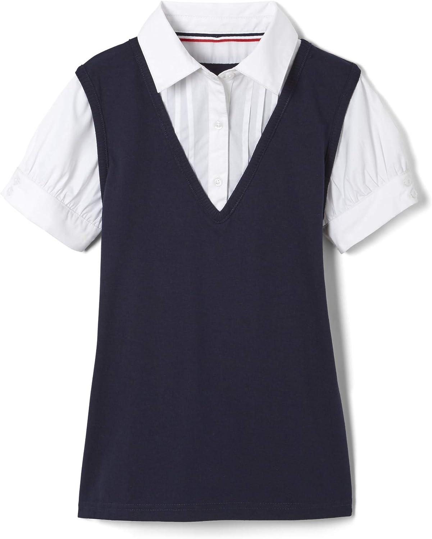 French Toast School Uniform Girls Short Sleeve 2-fer Mock Collar with Shirt