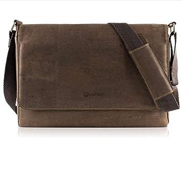abb46e080246eb Amazon.com: Corkor Messenger Laptop Bag 15 for Men   Vegan Cork   Crossbody  Strap Brown Color: Corkor