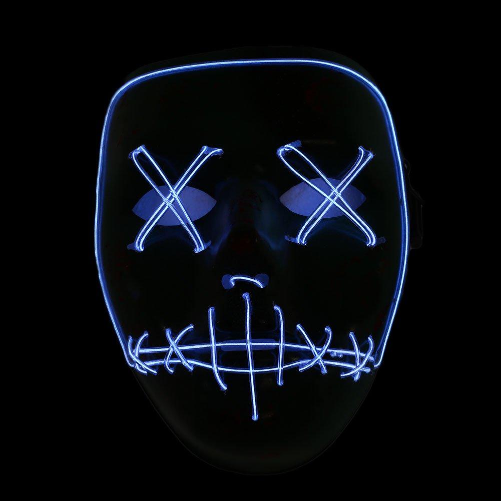 Ice Blue Bolange M/áscara de Halloween Glowing Grimace m/áscara de mueca Luminosa Child Cold Mask Decoraci/ón de Fiesta de Halloween