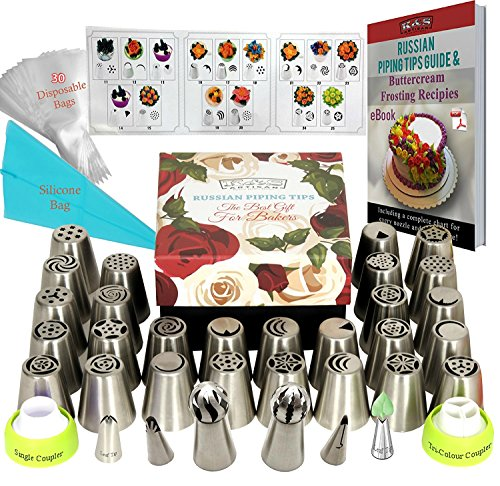 DELUXE Russian Piping Tips 66pcs EXTRA LARGE Baking Supplies Set 27 Russian Icing Nozzles 2 Couplers 2 Sphere Ball Tips 2 Ruffle Tips 2 Leaf Tips 30 Pastry Disposable Bags 1 Silicone Bag + GIFT BOX!