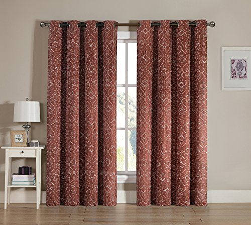 Grommet Window Curtain Panel Two Piece Set: White Embroidered Swirl Design (Cinnamon Rust)