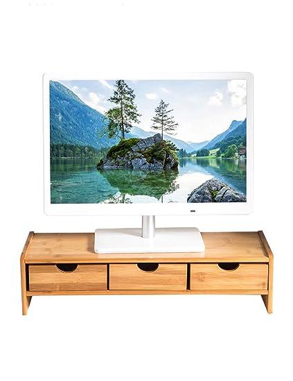 PIPIXIA Soportes de Monitor de bambú universales Altavoz TV PC Ordenador portátil Pantalla Vertical Ordenador de