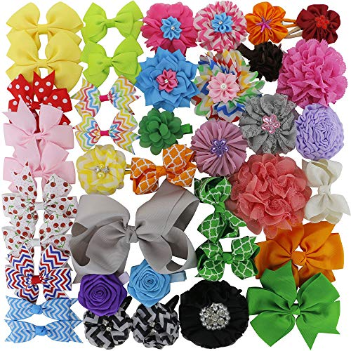 QingHan Hair Bows For Girls Grosgrain Ribbon Boutique Flowers Alligator Clips Teens Kids Babies Pack Of 40