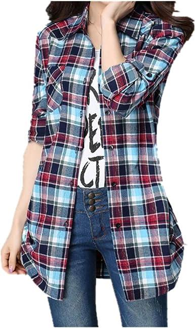 NOBRAND Camisa de algodón a cuadros de manga larga para mujer ...
