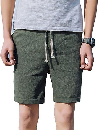 Pantalones Cortos para Hombre Color Puro Tipo Recto Suelto ...