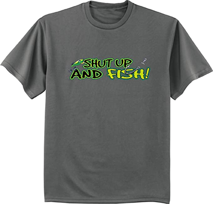 b9e1ad781 Decked Out Duds Shut up and Fish Funny Fishing Design Mens Charcoal Gray T- Shirt