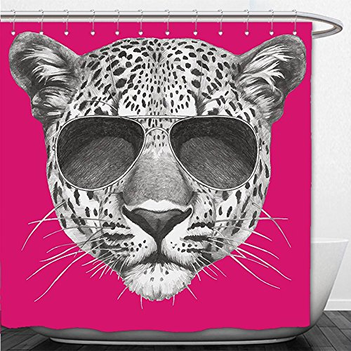 Beshowere Shower Curtain Modern Hipster Leopard with Aviators Sunglasses Portrait Cool Wild Animal Illustration Magenta - Wild Adventures Aviator