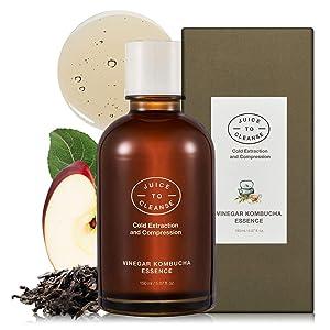 JUICE TO CLEANSE Vinegar Kombucha Essence 150ml - Apple and Vinegar PHA Facial Smooth Water Essence, Moisturizing & Skin Radiance, Vegan, Paraben Free