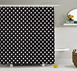 Polka Dot Shower Curtain Ambesonne Black and White Shower Curtain, Classical Pattern of White Polka Dots on Black Traditional Vintage Design, Fabric Bathroom Decor Set with Hooks, 75 Inches Long, Onyx White