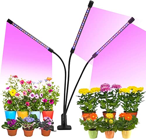 Grow Light, 30W Tri Head Timing LED Plant Grow Lights for Indoor Plants with Red Blue Spectrum, Adjustable Gooseneck, Auto ON Off 5 Dimmable Levels Clip-On Desk Grow Lamp with 3 6 12H Timer