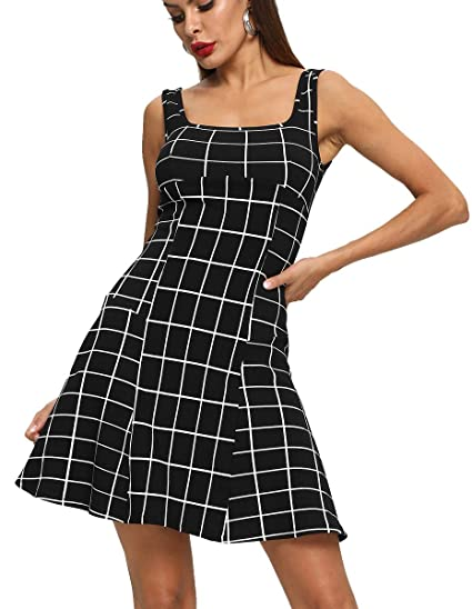 ee925c379e7e2 Romwe Women's Sleeveless Beach Casual Flared Check Print Tank Dress Black XS