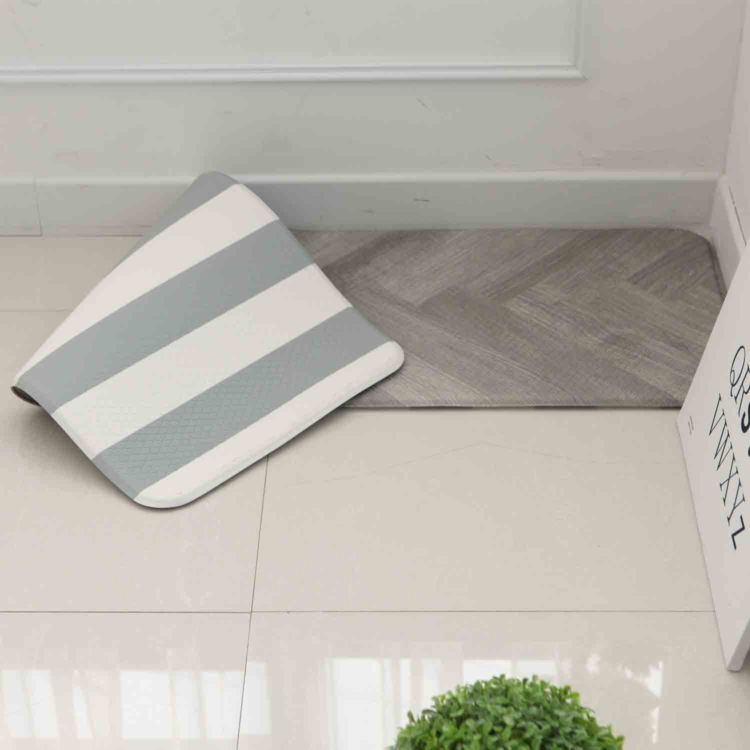 Amazon Com Anti Fatigue Cushion Stylish Comfort Floor Foam Kitchen Mat Office Mat Waterproof Easy To Clean Soft And Thick Non Toxic Reversible Grey And Stripe 17 X 37 Kitchen Dining