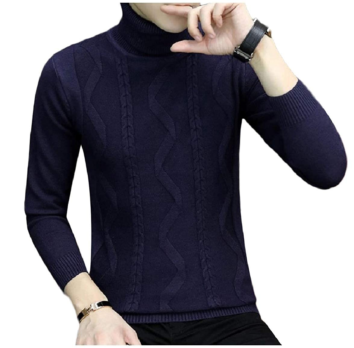 Abetteric Men High Waist Woven Pure Color Classic Rib Cozy Pullover Sweater