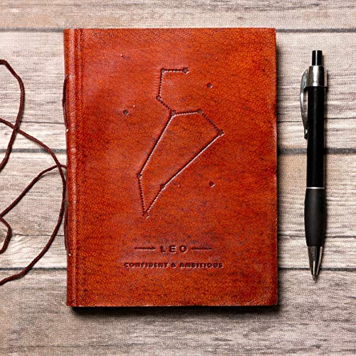 Leo Leather Journal/Zodiac Handmade Journal/Astrology Journal/Horoscope Journal/Gifts for Him/Travel Journal/Sketchbook / Embossed Genuine Leather Journal/Your Personal Bound Notebook