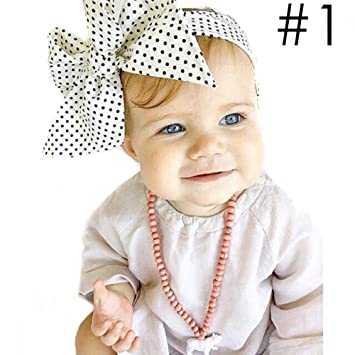 71ff5ed1f90 Amazon.com  Zduang Toddler Head Wrap Infant Headband Big Bowknot Dot ...