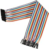 Demarkt 40 Pcs Female to Female Jumper Wires 2.54mm 0.1 in 20cm Jumper Wires Data Cable F/F