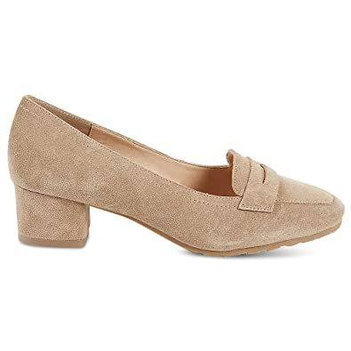 5b699245ad0c Marks   Spencer Footglove T028462W Wide FIT Suede Leather Block Heel  Moccasins Court Shoes RRP £