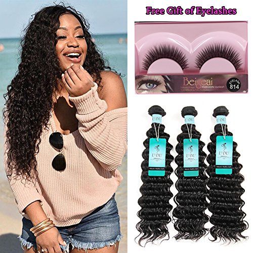 UDU Peruvian Deep Wave Human Hair Bundles 3 Pcs Short Deep Curly Hair For Black Women Curly Human Hair Weave Extensions Remi Remy Hair Weft Mixed Length Can Be Dyed and Bleached 95-105g For Sale