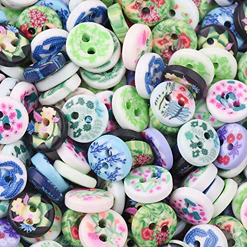 Funnmart 100Pcs Flat Round Flower Design Polymer Clay Beads Mixed 112mm Perlas Para Bisuteria DIY Jewelry Costume Accesory -