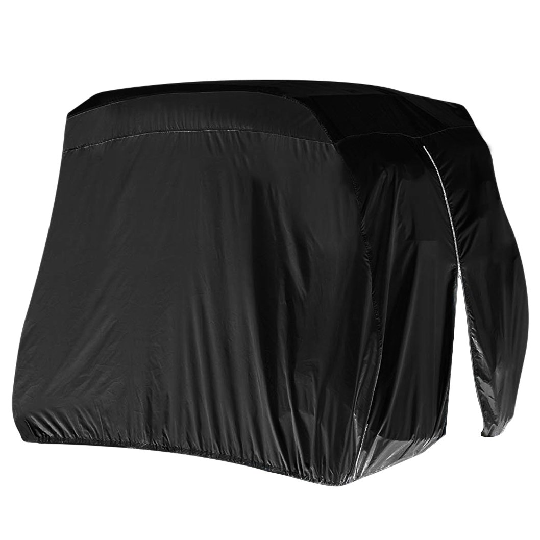 Wobe Waterproof Dust Prevention Golf Cart Cover, Golf Cart Easy-On Cover For 4 Passenger Golf Carts, Fits Club Car, Yamaha Drive & EZ Go Black Polyester with Zipper L Size