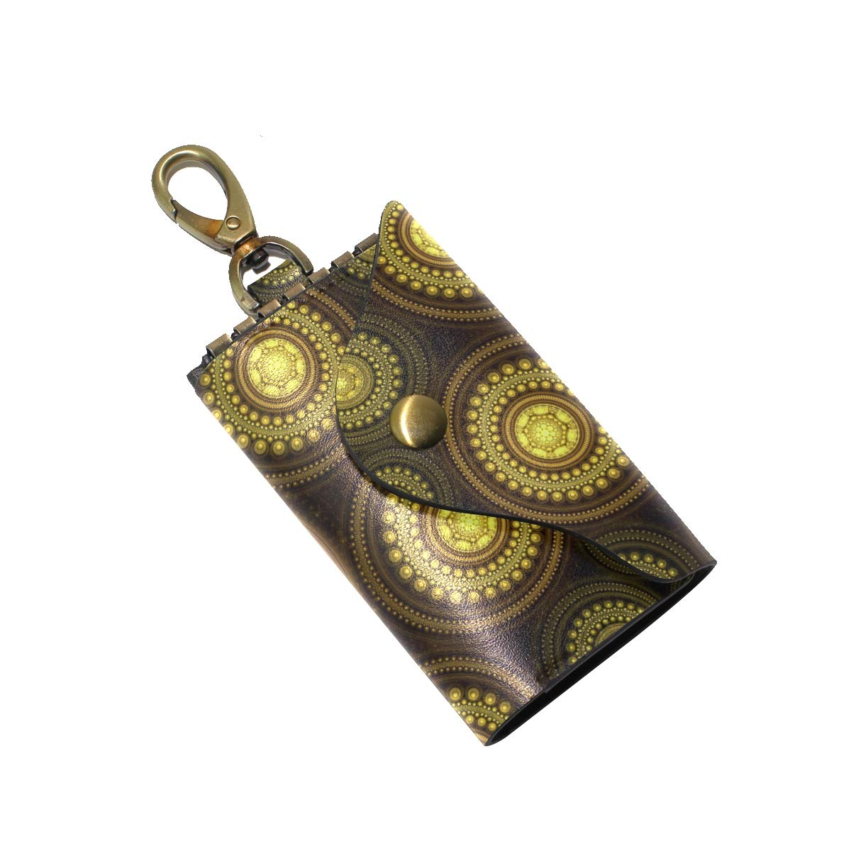 KEAKIA Fractal Yellow Leather Key Case Wallets Tri-fold Key Holder Keychains with 6 Hooks 2 Slot Snap Closure for Men Women
