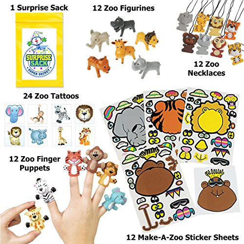 Super Safari Party Favor Pack (12 Wiggly Eyed Wild Animal Necklaces, 12 Zoo Finger Puppets, 12 Zoo Figurines, 24 Zoo Animal Tattoos, 12 Make-a Zoo Animal Sticker Sheets & 1 Super Secret Surprise Sack)