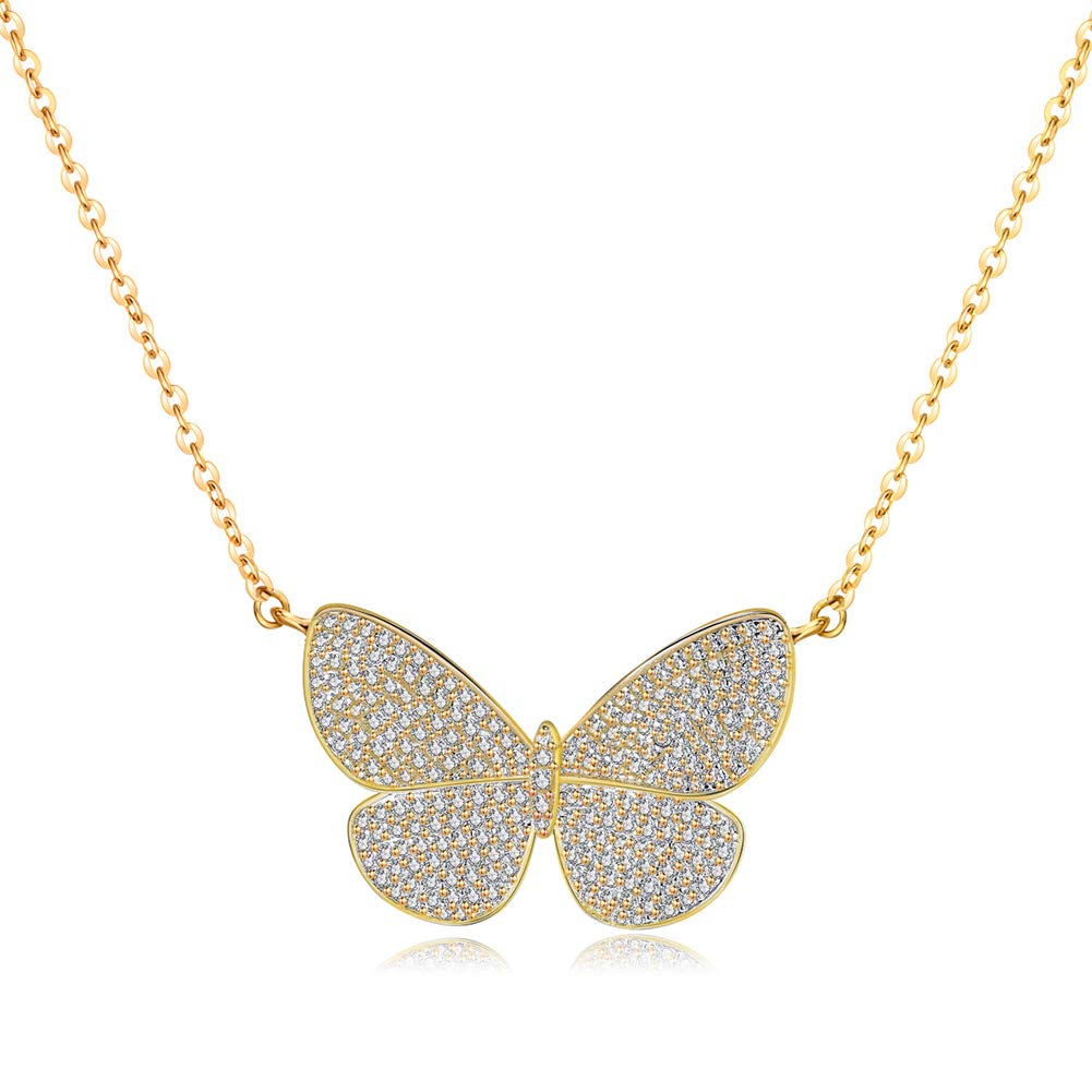 Gold Pendant Necklaces for Women - Choker Necklace 18K Rose Gold Plated Butterfly Necklaces, Bird Necklaces, Best for Girls Gifts and Daily Wear (Butterfly Necklaces)