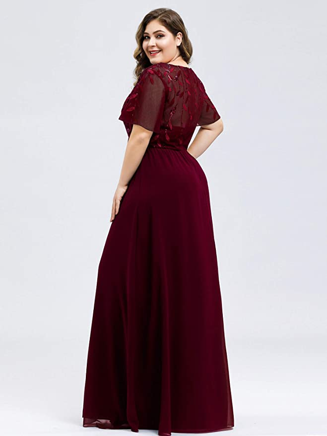 Ever-Pretty Womens A-Line Sweetheart Illusion Embroidered Maxi Party Evening Dress 7706