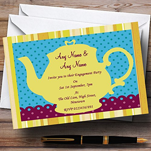 Big Yellow Teapot Vintage Engagement Party Personalized Invitations