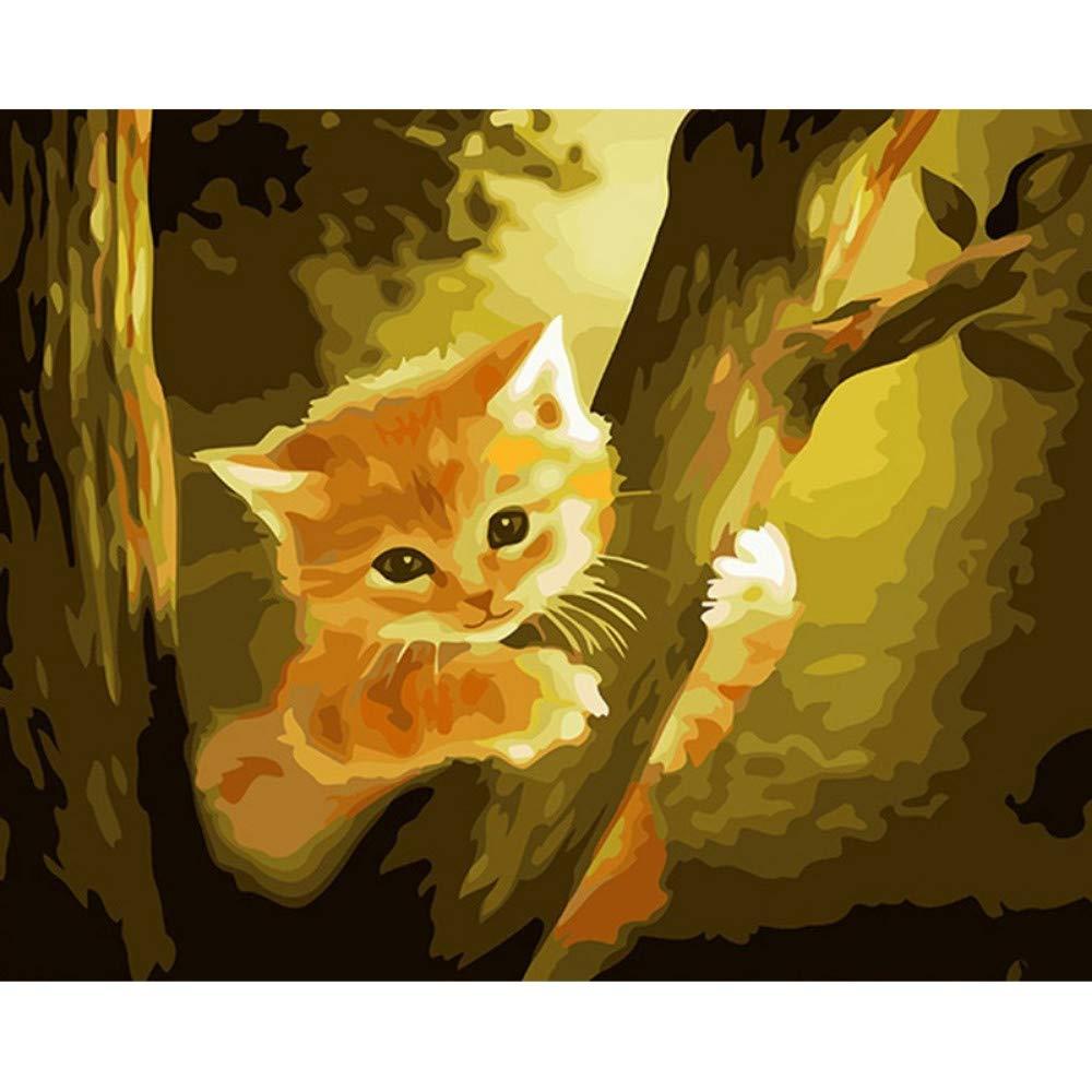 wanghan Pintura por números Árbol Gato DIY Pintura by Números Kits Animales Pintura by Números Caligrafía Pintura Arte De La Pared Imagen 40X50