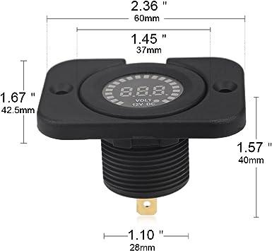WATERWICH Waterproof 24V DC Voltmeter Color LED Digital Display Volt Meter Voltage Meter Scale Gauge Battery Tester for Marine Car Motorcycle Truck Boat RV