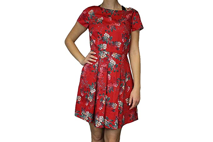 dcd97bce212 French Connection Womens Kioa Floral Print Fit & Flare Skater Dress Red 4