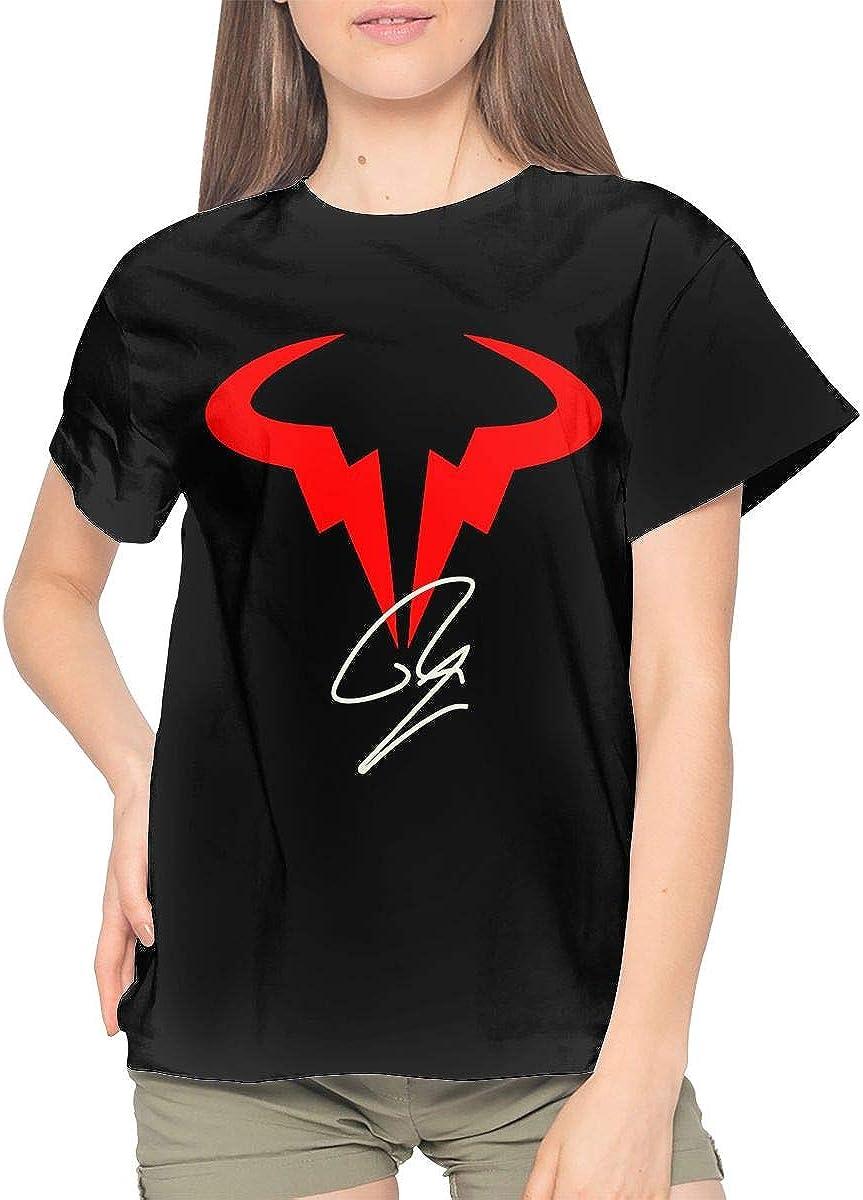 Joy R Daniels Rafael Nadal Logo Women S Cotton Short Sleeve Crewneck T Shirt Black At Amazon Women S Clothing Store