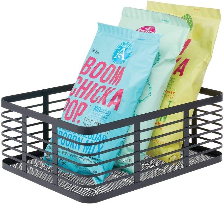 mDesign Farmhouse Decor Metal Wire Food Organizer Storage Bin Baskets for Kitchen Cabinets, Pantry, Bathroom, Laundry Room, Closets, Garage - Black